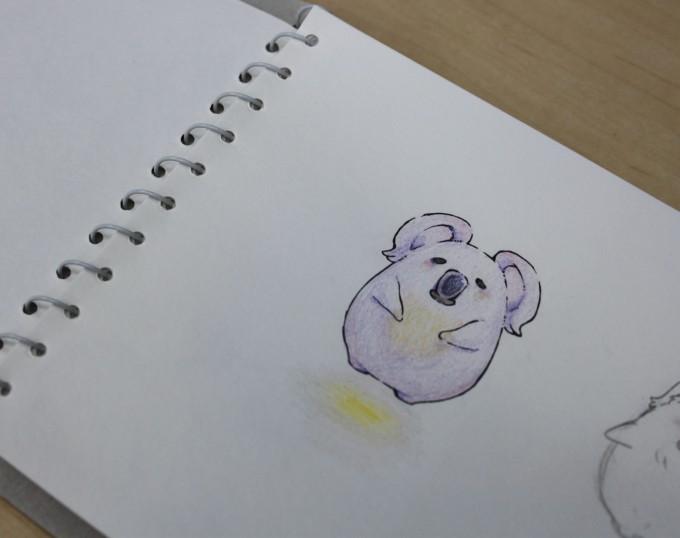 スケッチブックに描かれた絵の写真。